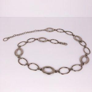 Vintage Silver Tone Oval Shaped Belt